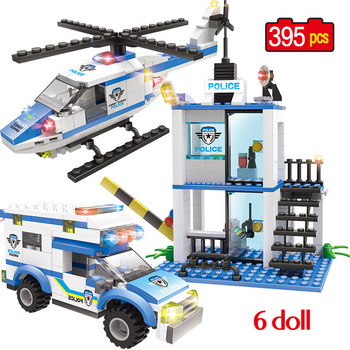 Military Police Station Helicopter Car Model Building Blocks City Swat Figures Bricks Educational Kids Toys for children - discount item  41% OFF Building & Construction Toys
