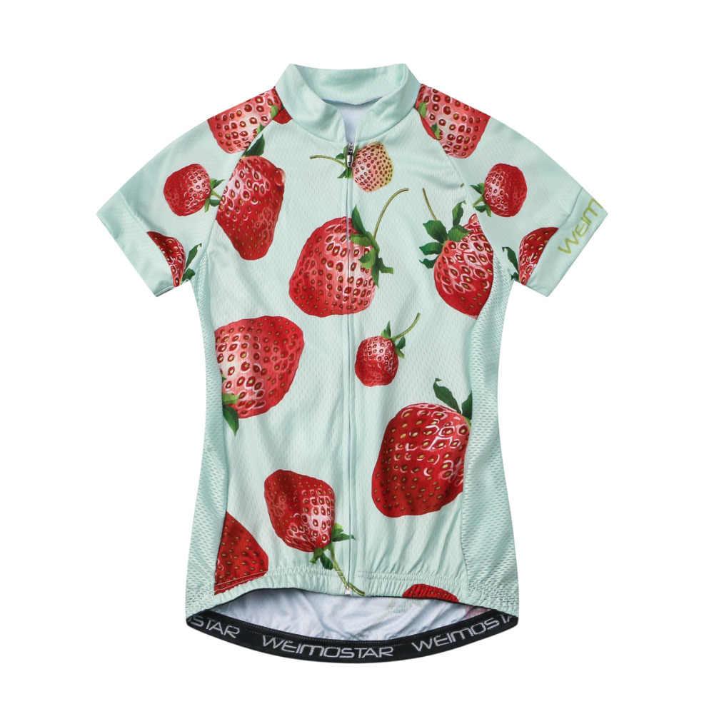 נשים תות חולצת טריקו Weimostar Pro קבוצות רכיבה על אופניים ג 'רזי ciclismo roupa רכיבה MTB אופני אופניים חולצות בנות ללבוש
