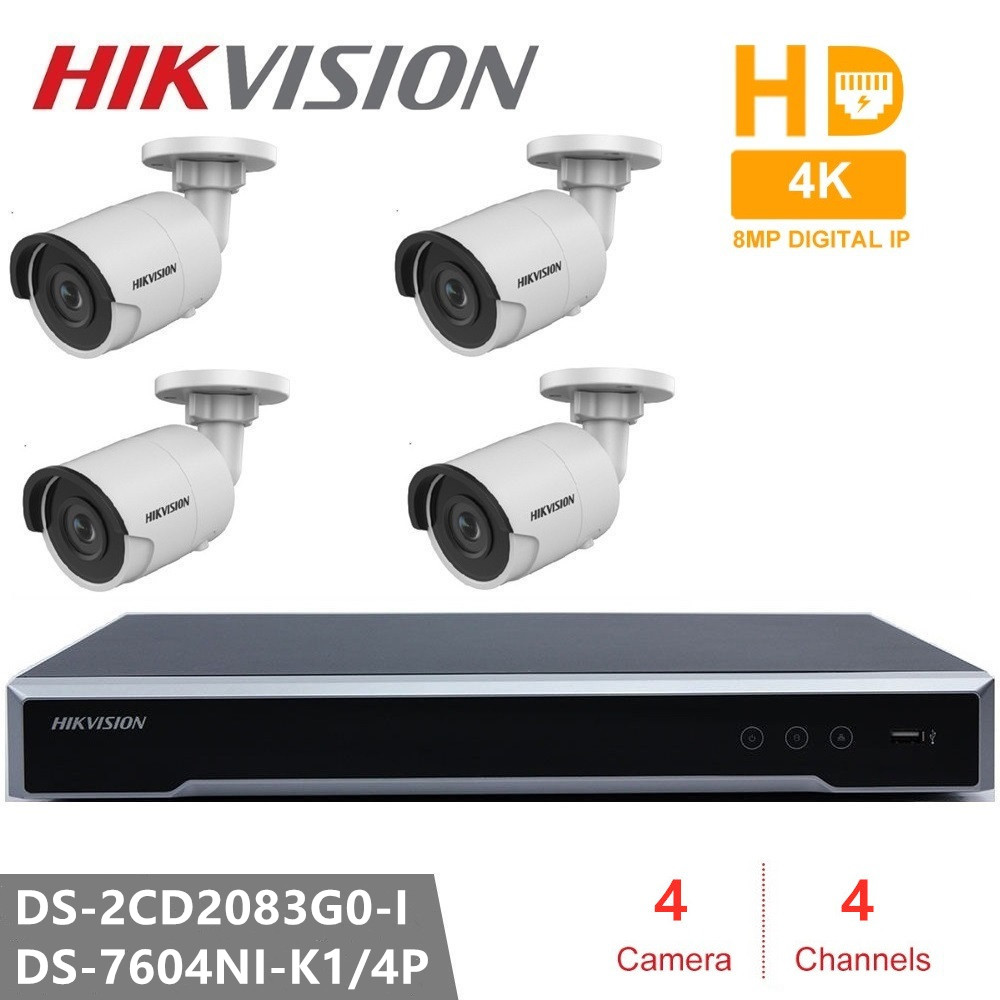 Hikvision New Arrived 8MP CCTV Camera Kits 4CH Surveillance Kits H.265 Network Dome Camera 3D DNR Bullet IP Camera POE Outdoor image