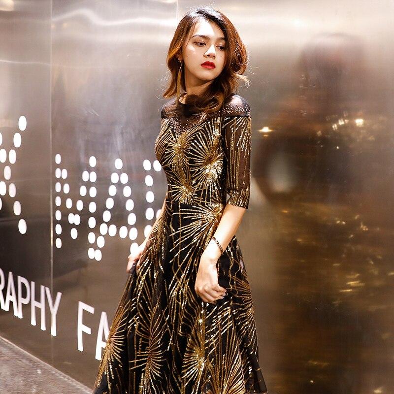 Robe De soirée Robe De soirée 2019 or paillettes cristal o-cou noir étage-longueur robes De dîner LF405 - 4