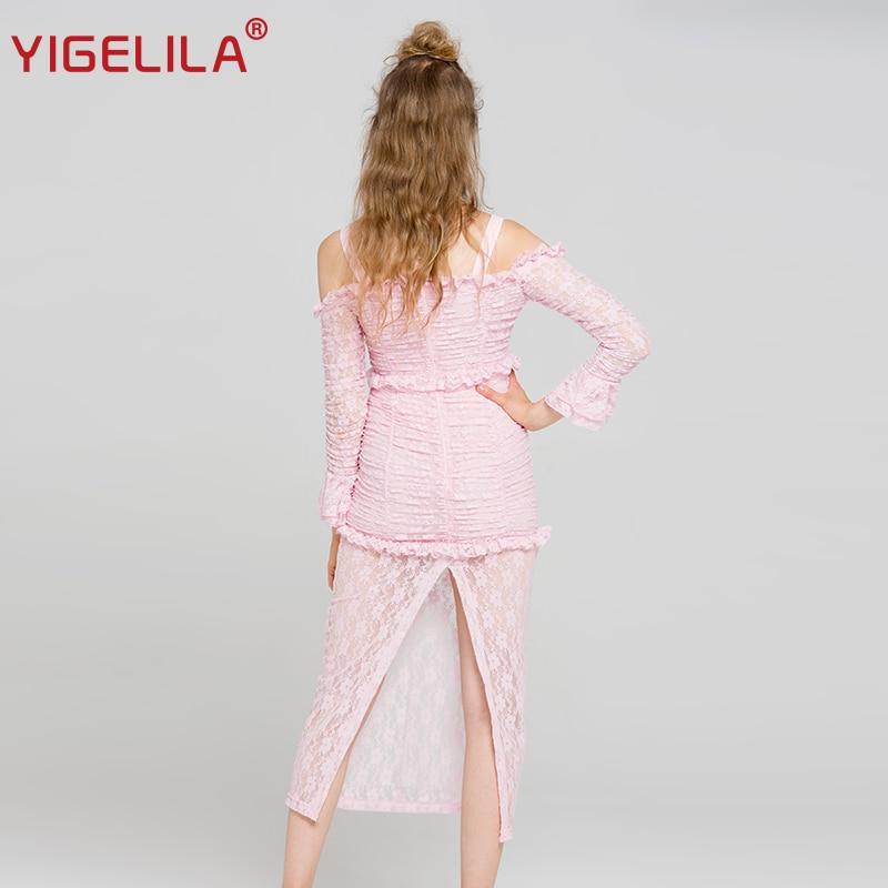 ¡Novedad de 2019! vestido largo YIGELILA de encaje rosa para mujer, vestido liso de vaina imperial con mangas acampanadas y cuello oblicuo 62990 - 3