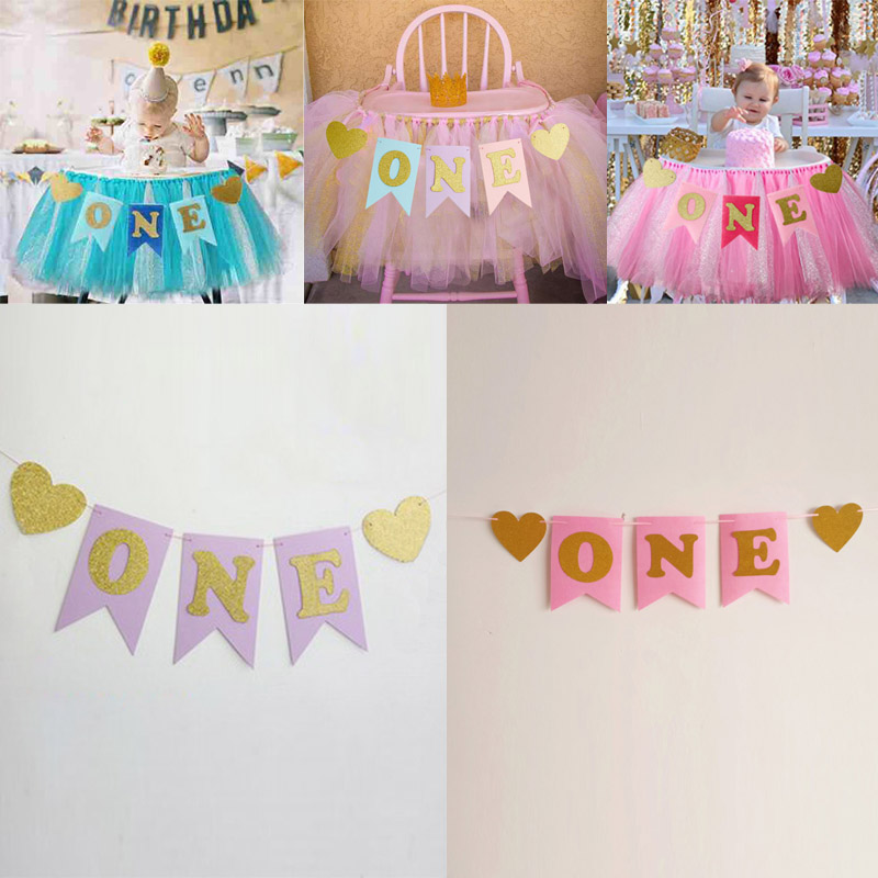 Non-woven I AM ONE Hanging Bunting Chair Banner Baby 1st Birthday Decor Party Decoration Bunting Supplies Paper Flags Garland