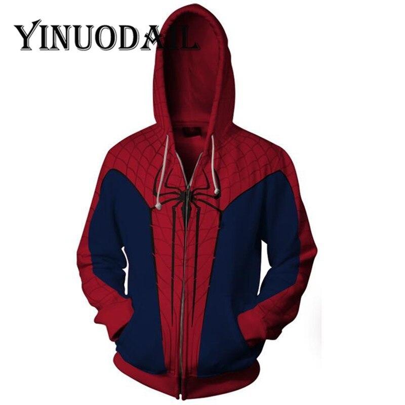 fdf68af1e09d Fans Wear Marvel Spiderman 3D Sweatshirts for Men Erkek Sweatshirt Street  Wear Long Sleeve Cosplay Zip