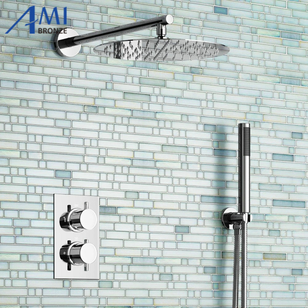 12 Ultra Thin Round Mixer Thermostatic Shower Head Set Bathroom Valve Set Chrome Hand Held Head
