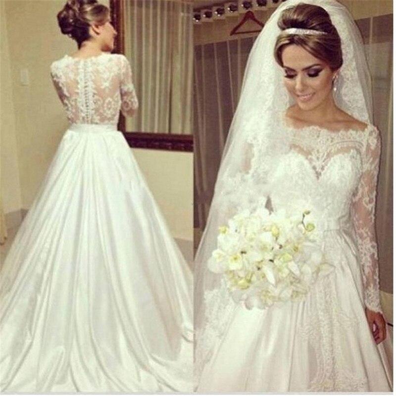 Long Sleeve Tulle Wedding Dresses New Full Lace Appliques Sweetheart Bridal Gowns Sweep Train Vestido De Noiva 2019