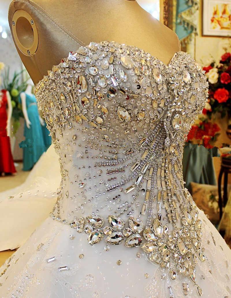 Роскошное бальное платье пушистое милое, с отделкой стеклярусом, бисером алмазные свадебные платья платье с настоящим фото De Novia 2018 на заказ WS68M