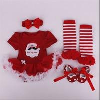 2016 Nieuwjaar Vrolijk Kerst Minnie Baby Meisjes Romper Kleding Pasgeboren Meisje Jurk Jumpsuit Baby 4 stks kleding Sets 0-1 Jaar