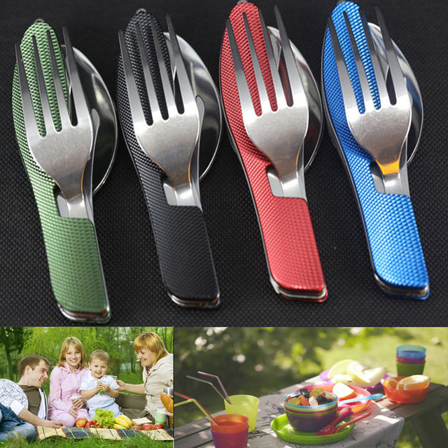 Portable Outdoor 3in1 Fold Travel Camping Utensil Stainless Pocket Spoon Fork practical high quality stainless steel household