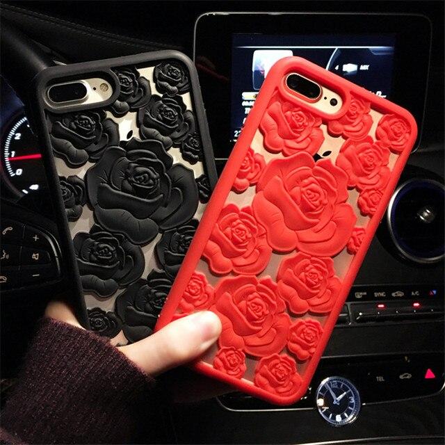 Luksusowe 3D Rose Flower Hollow Miękkie Silikonowe Etui Telefon Dla Samsung Galaxy S6 S7 Krawędzi S8 S9 PIus Uwaga 8 dla iPhone 6 6 s 7 8 Plus X