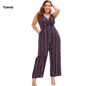TUHAO 2019 Summer Bohemian Jumpsuits for Women Plus Size 4XL 3XL Geometric leopard High Waist Rompers Jumpsuit overalls YDFZ
