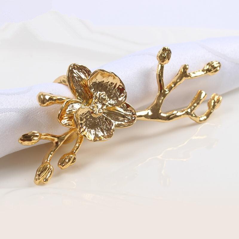 2 Unid moda servilleta anillo de oro flor servilletero plata servilleta anillo cena occidental toalla Hotel Mesa Decoración