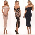 Sexy Tea Length Cocktail Dresses for Party 2016 Off Shoulder Short Sleeve Prom Dress Special Occasion Gowns Cheap