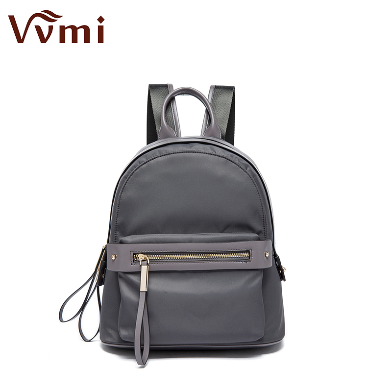 Vvmi 2016 new fashion women nylon with leather bacpacks school waterproof bags travel bags for female
