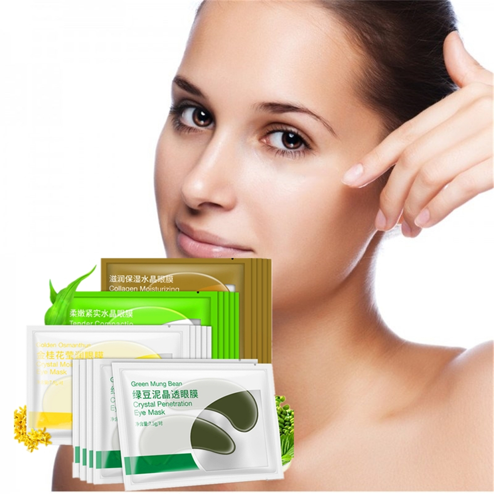 DISAAR 4packs 8pcs Collagen Crystal Eye Mask Face Mask Gel Eye Patches for Eyes Bag Dark