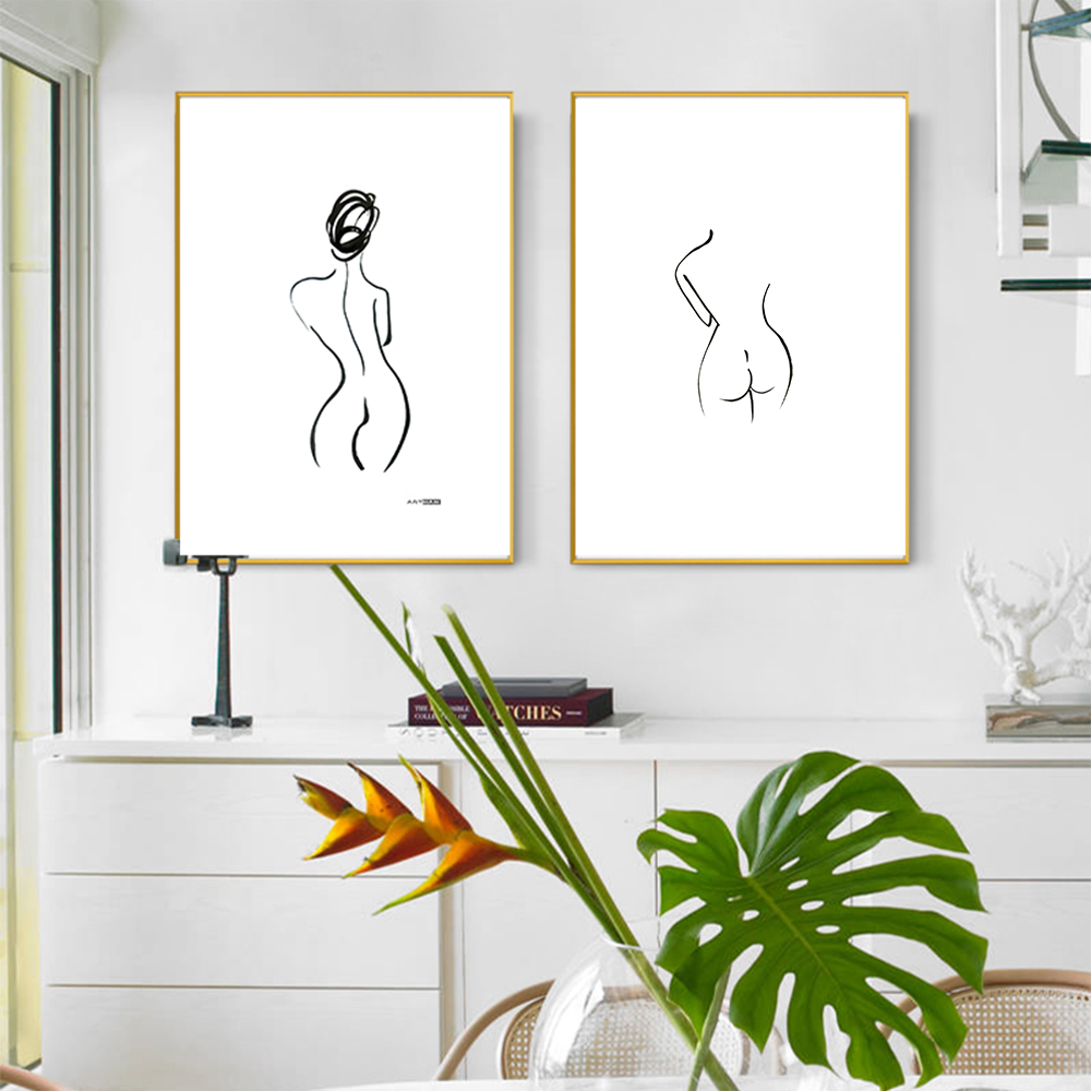 The Paintings Minimalism Backview of Woman Wall Art Pictuures For Living Room Canvas Home Decor No Frame