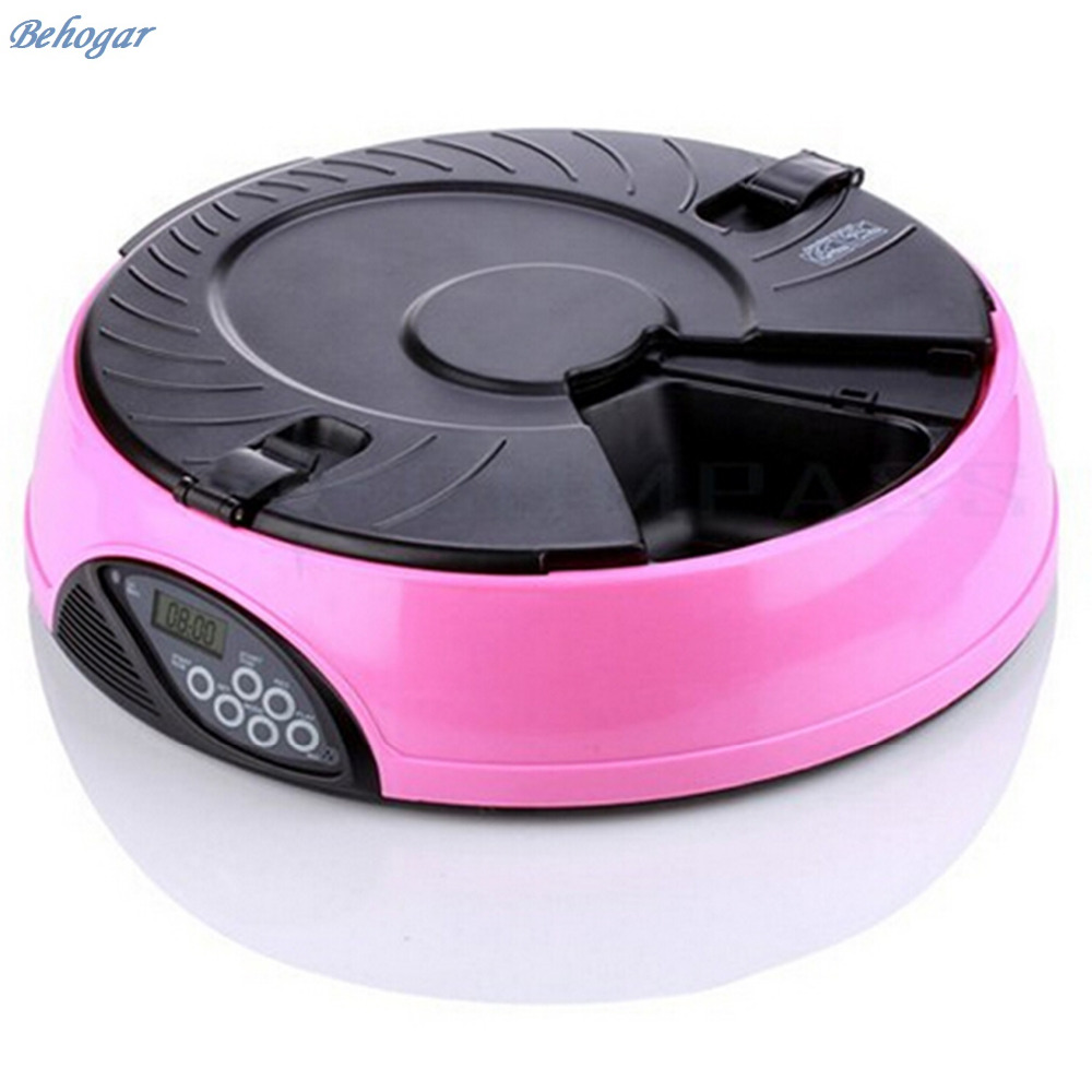 Behogar 6 Meal Tray Programmable Timer Automatic Pet Dog Cat Feeder Water Tray Bowls for All
