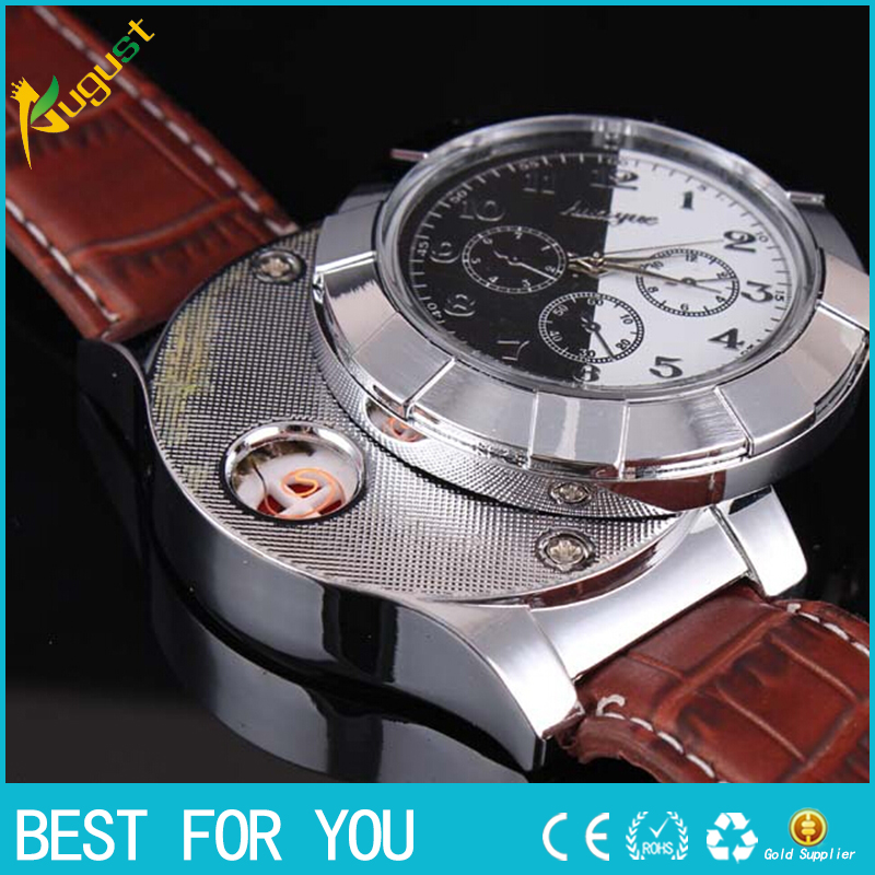 1pcs 2016 Windproof Cigar Lighter USB Lighter watch Charging sports casual quartz Watches wristwatches usb lighter