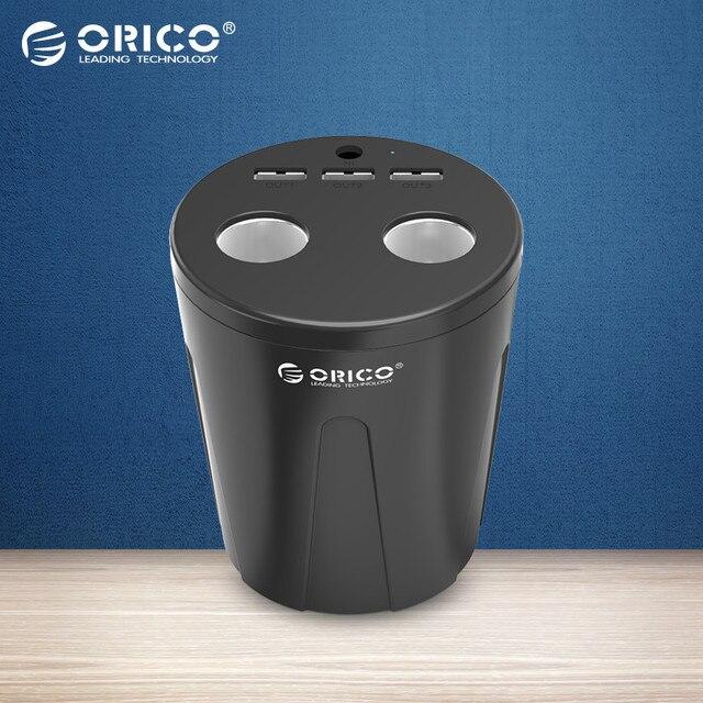 ORICO Зарядное 3 USB Портами 5V2. 4A * 3 (7.2A 36 Вт) телефон Зарядное Устройство Держатель Стакана Воды с 2 Прикуривателя-Черный (MP-3U2S-BK)