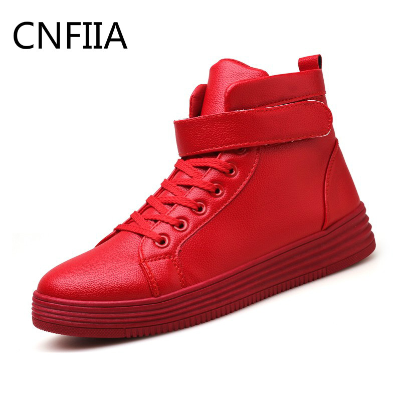 CNFIIA Men Boots Male Red Bottom Shoes Man High Top Leather Ankle Boots Red White Black 2018 New Casual Shoes Fashion Motocycle