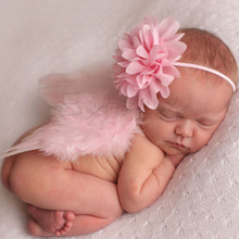 New 1Set Infant Baby Feather Pearl Flower Headband Angel Wings Photo Prop Birthday Party