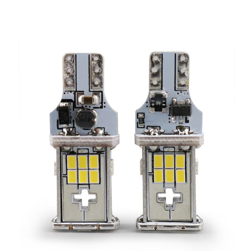 Подробнее о 2pcs T15 W16W LED Reverse Lamp Bulb Canbus Error Free SMD 3020 Chip Car Reversing Light Backup Light Turn Brake Signal Lightings 2pcs t15 w16w 15smd high power chips led 2835 error free canbus bulbs backup reverse turn signal light
