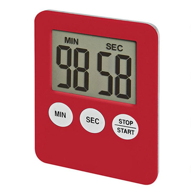 1pcs 5 Colors Super Thin LCD Digital Screen Kitchen Timer Square Cooking Count Up Countdown Alarm Magnet Clock Temporizador