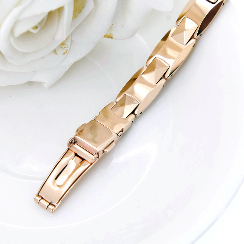 High Quality Rose Gold Color Tungsten Steel Bracelets For Men Pure Germanium Magnet Therapy Health Benefits Love In Chain Link