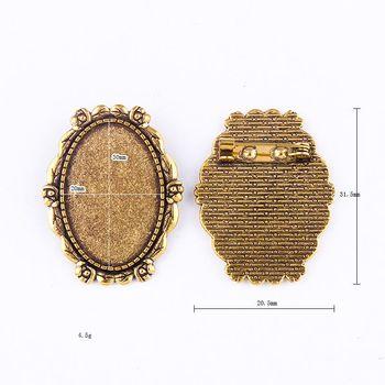 2 подходит для ПК 30x20mm, брошь-держатель в виде цветов, античных золотых подвесок, кабошонов, камеев, основа, Безель, пустая, сделай сам, для юве...
