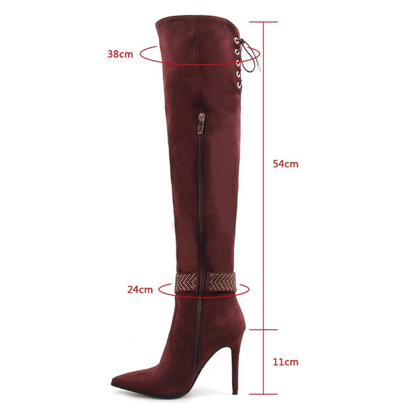 Bout Mujer Chaussures Sexy Red Genou Robe Femmes Mince Lisa Talons Hauts Botas Zipper Haute Cyrstal Wine Pointu Orcha Boucle À Bottes J527 eCxBordW