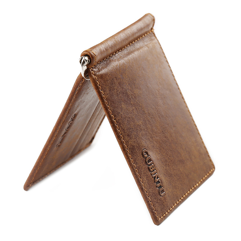 GUBINTU Vintage Mini Men's Genuine Leather Money Clip Wallet With Metal Clamp Small Purse Cash Holder Slim 6 Card Slots For Man