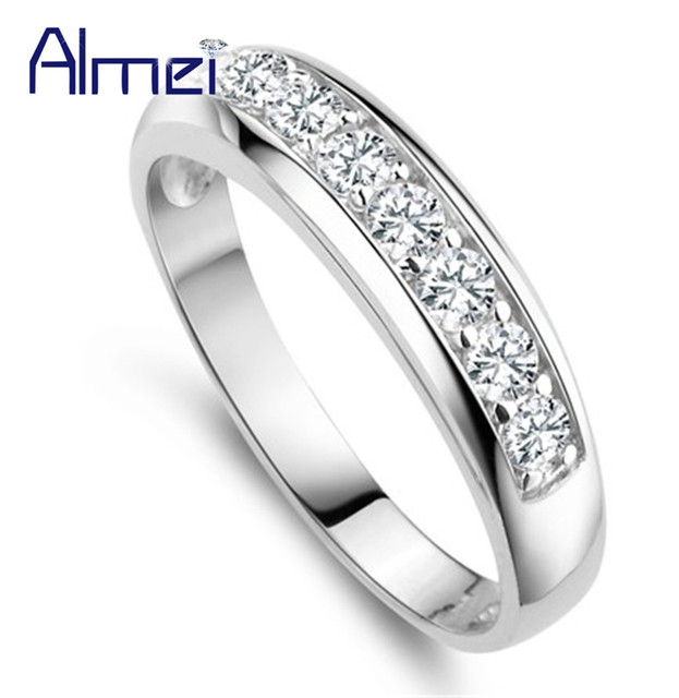 Almei 15%Off Silver Ring White Crystal Jewelry Rose Gold Color Rings for Women Wedding Party Joias De Prata Anel Femininas J294