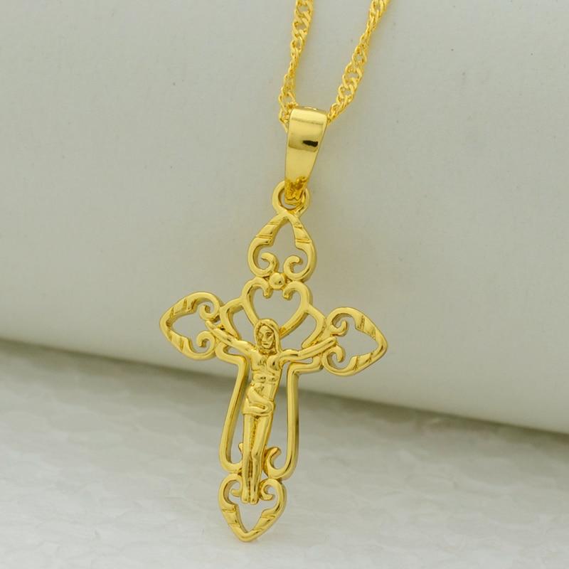 Anniyo cross pendant necklace chain for womengirl gold color anniyo cross pendant necklace chain for womengirl gold color jewelry crosses jesus christian crucifixgod of suffering aloadofball Choice Image