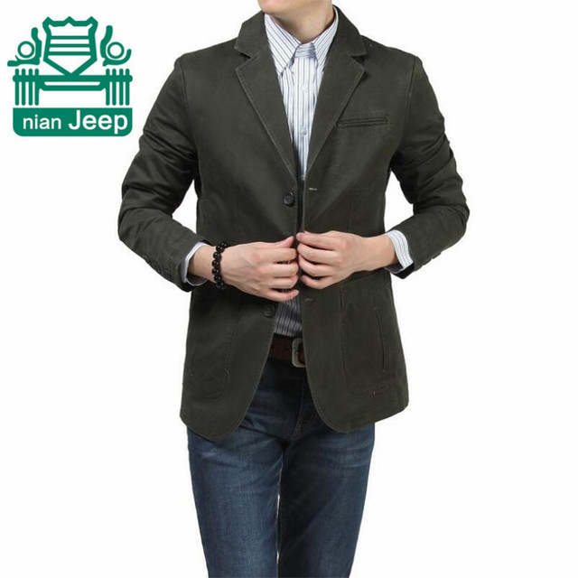 Nian AFS Jeep Wholesale Price Men's Casual Pure Cotton Blazer,Black/Army Green/Khaki Men slim  Overall Slim Cardigan Outwear