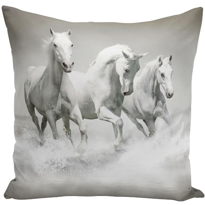 Image 2 - Throw Pillow Bts Case 45x45 Animal Print War White Horse Cushion Cover Sets for Chair Sofa Decorative Home Farmhouse Decor-in Cushion Cover from Home & Garden