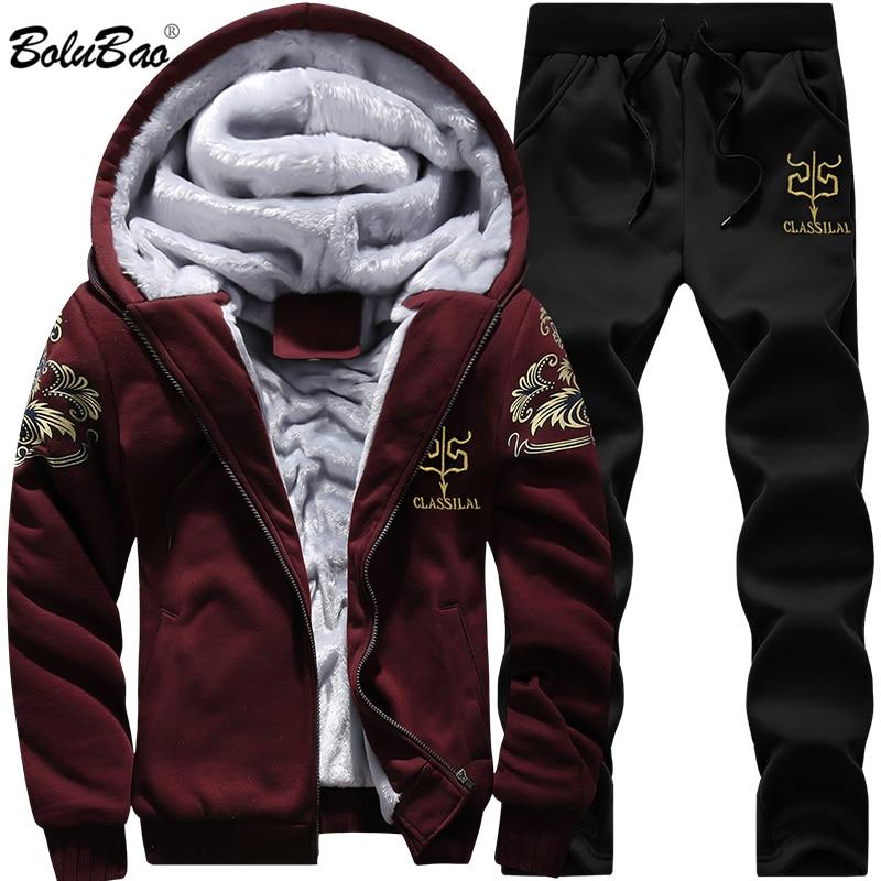 BOLUBAO Winter Thick Men Sports Suit Tracksuit Hooded Sportswear Zipper Cardigan Hooded+Elastic Pants Casual Men Set
