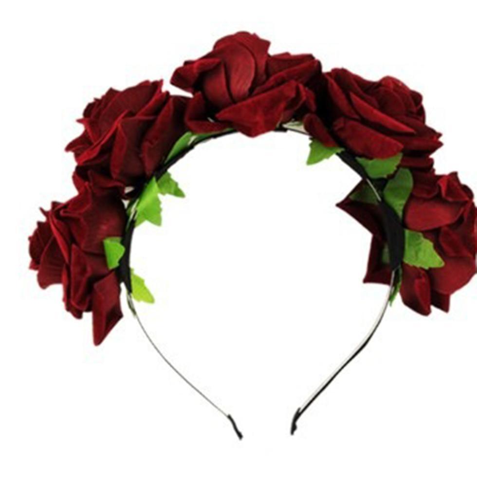 Wholesale Rose Floral Flower Garland Crown Headband Hair Band Bridal  Festival Holiday Headwear 6e8299a35a2