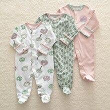 3 sztuk noworodka śpioszki dziewczęce zimowe chłopięcy kombinezon jednoczęściowy dla niemowląt ubrania 100% bawełniana bielizna pajacyki odzież śpioszki dla niemowląt ciepły kostium