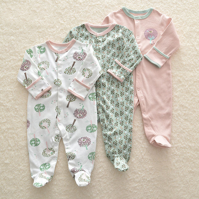 82bffb72eb00 3Pcs Newborn Baby Girl Romper Winter Baby Boy Jumpsuit Clothes 100 ...
