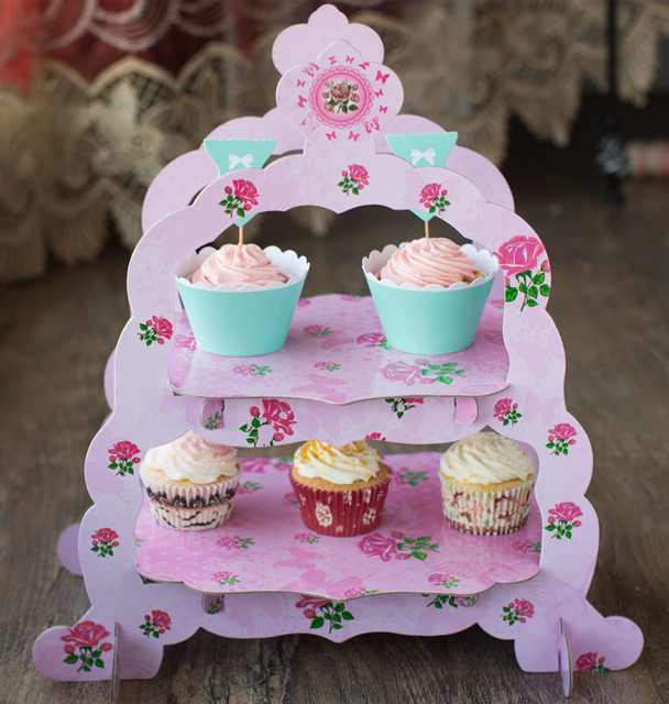 Free shipping double layer cake stand cupcake stand birthday wedding party dessert paper plate pink flower & Free shipping double layer cake stand cupcake stand birthday wedding ...