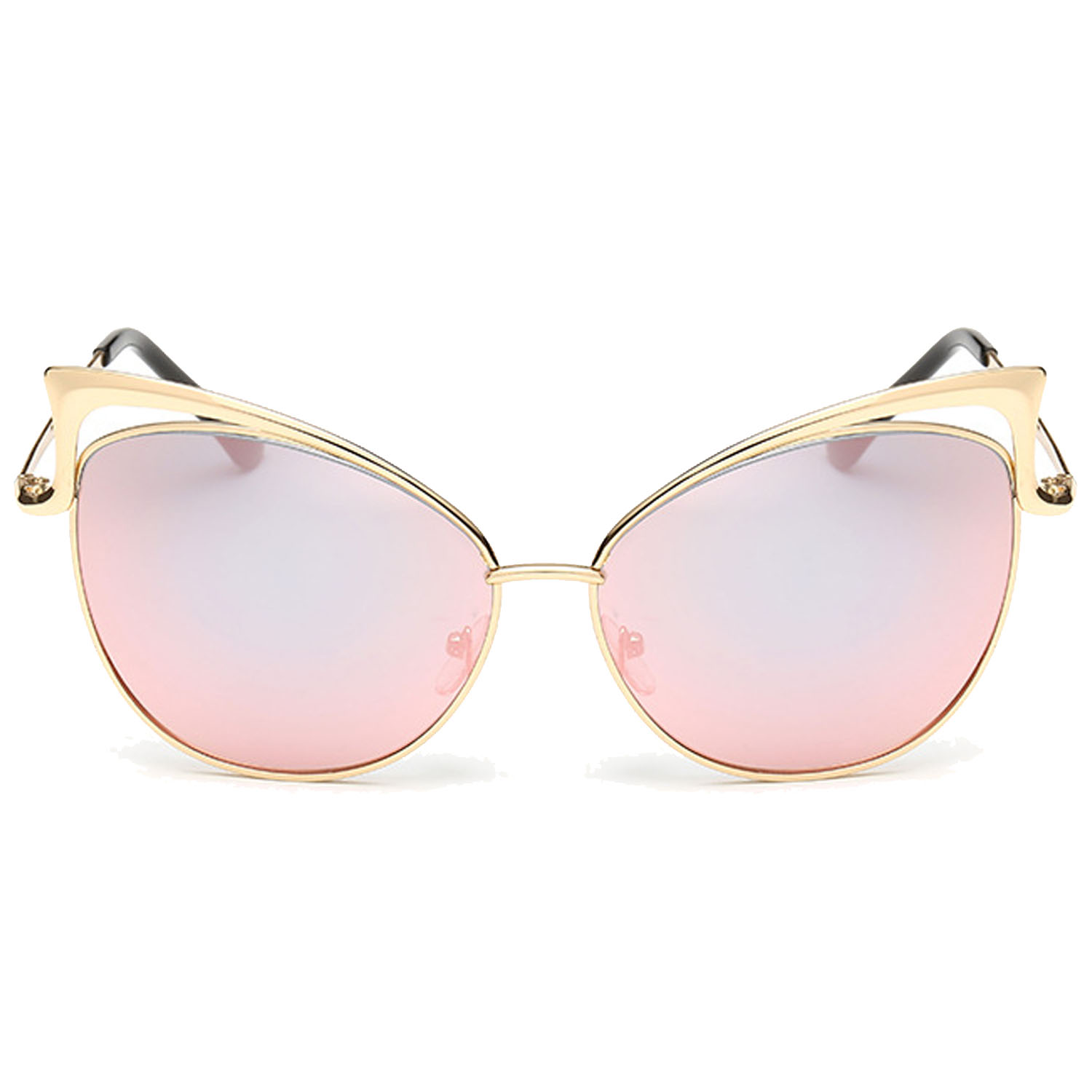 Women Fashion Metal Frame Cut Out Cat Eye Shape Sunglasses UV Protection  Comfortable Wearing for Holiday 971f7e8fb6