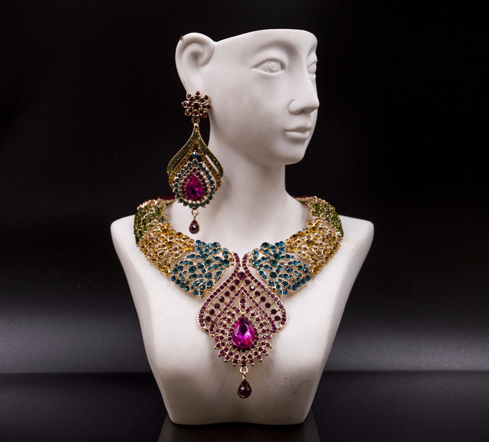 Lan palace Fashion Gold Color Nigerian Wedding African Beads Jewelry Set Crystal Saudi Jewelry Set Necklace Earring Jewelry Set