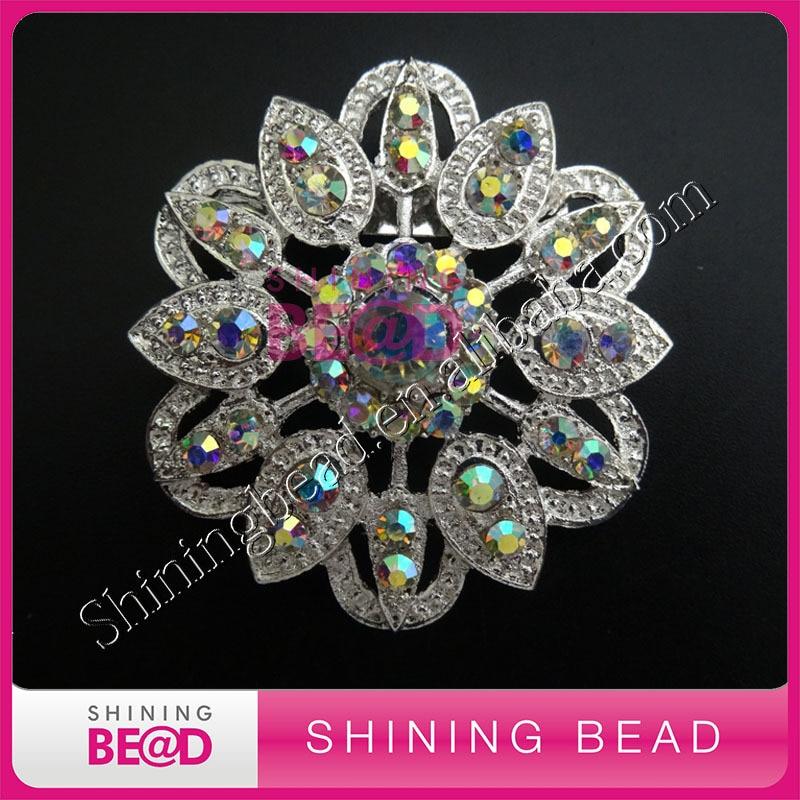 crystal AB color rhinestone brooch with pin on back,free shipping,fashionl rhinestone brooch for wedding bouquet