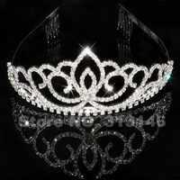 ブリンブリンクリスタルラインストーンクラウンティアラブライダルウェディングウエディングページェント誕生日パーティーブライダルヘッドバンドヘッドバンドヘアアクセサリーバンド