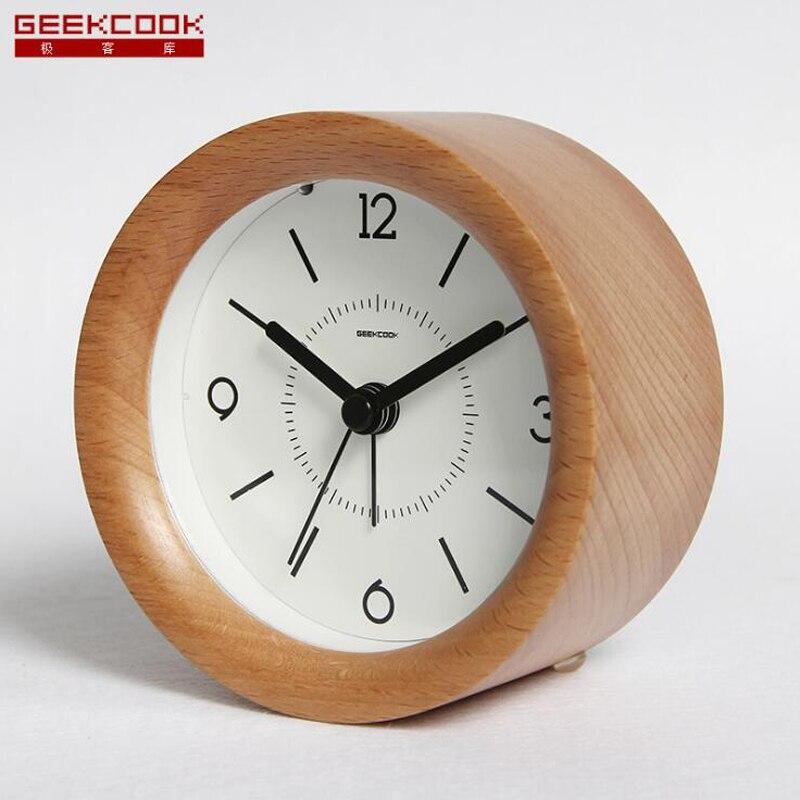 Desktop Snooze Wooden Alarm Clock for Bedside Kids Room with Backlight Silent Non Ticking