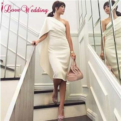 Robes de Cocktail 2019 une épaule robe courte sur mesure au genou longueur droite élégante robe de Cocktail fête