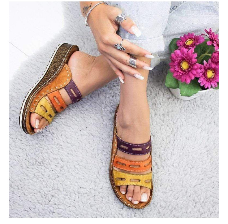 2019 Chic Summer Women Lady Fashion Three-color Stitching Color Casual Low Wedge Heel Beach Open Peep Toe Sandals Slippers Shoes