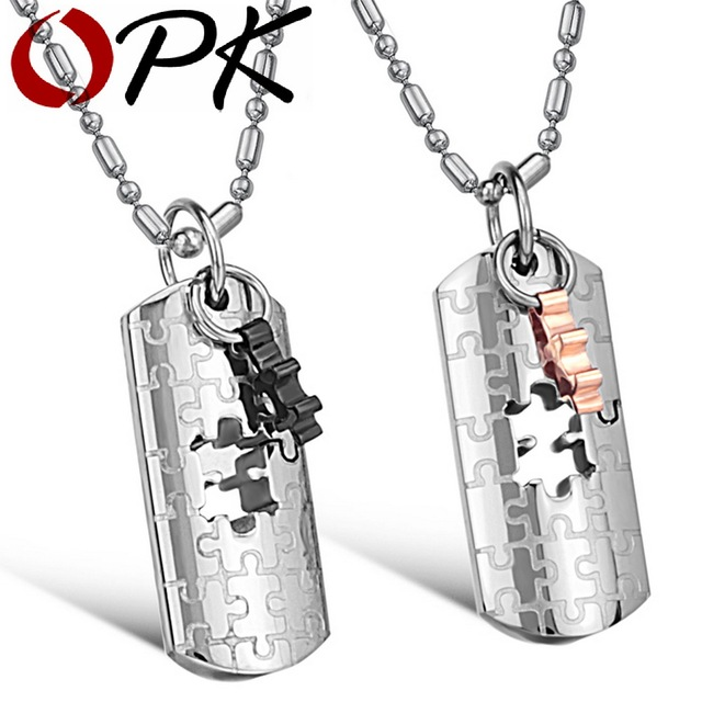 OPK JEWELRY stainless steel pendant stainless steel jewelry jigsaw cross pendant god bless Pendant Jewelry 652
