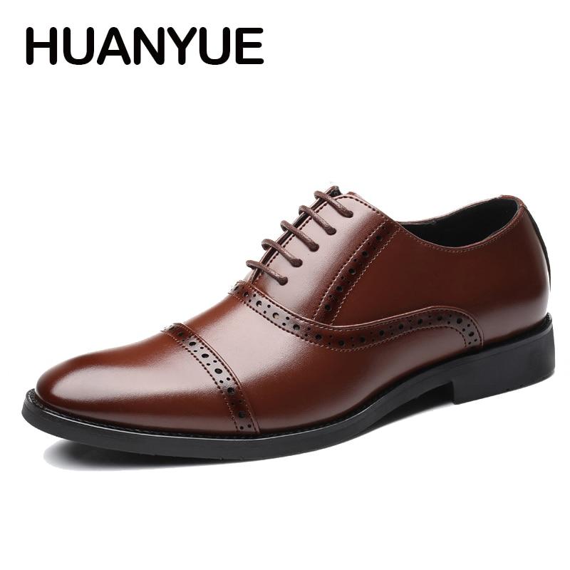 цены на Plus Size Men Shoes Leather Formal Dress Shoes High Quality Lace Up Flat Wedding Shoes Business Oxfords Shoes For Men Size38-48 в интернет-магазинах
