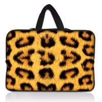 17 Inch Leopard Prints Soft Neoprene Laptop Netbook Sleeve Bag Case Pouch Hide Handle For 17
