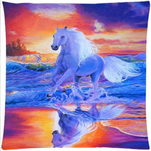 Custom Pillow Case Sunset Running Horse#2 Square Pillowcases zipper 35x35 cm (One Side) 727-@H014
